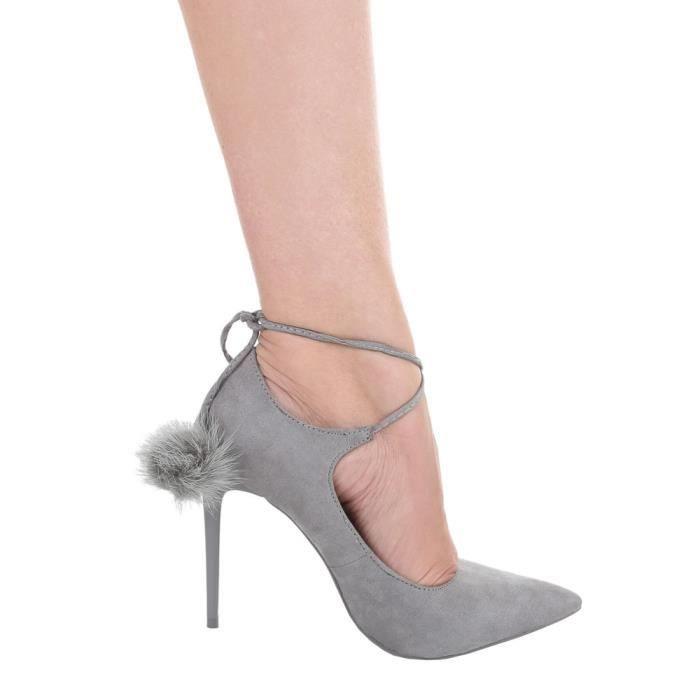 Femme chaussures escarpin High Heels avec décoration gris 40