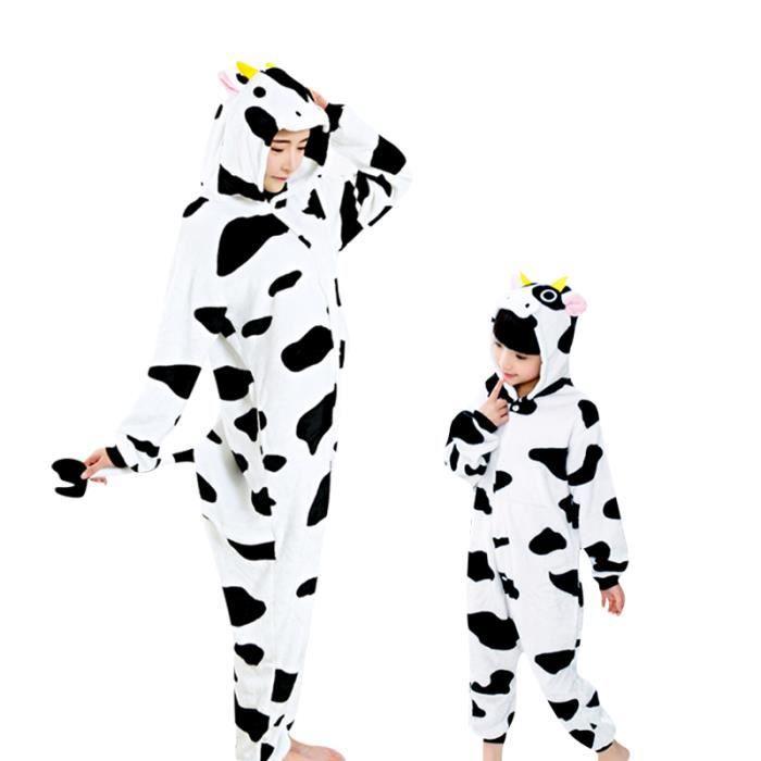 Cosplay Boys Laitière Onesies Enfant Adolescente Bodies Animé Vache Pyjama Adultes Fille Flanelle Pour Kigurumi Automne D'hiver 1qT5pn