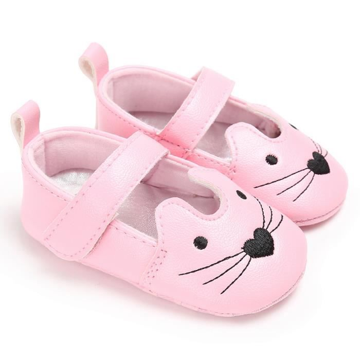 Frankmall®Bébé enfant filles chat berceau chaussures Soft semelle anti-dérapant espadrilles ROSE#WQQ0926303 p5FYM