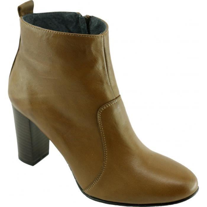 Kirry - Bottine à talon bout rond tout cuir marque Yves de Beaumond chaussures luxe Femme petites pointures tailles cuir gold