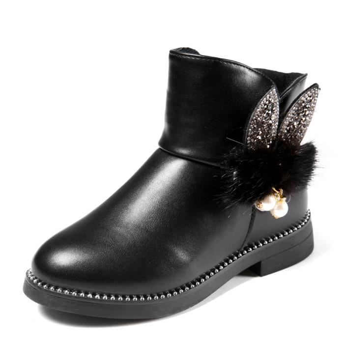 meilleur site web fe339 72cb6 Chaussures bottes enfant simili cuir Noir Noir - Achat ...