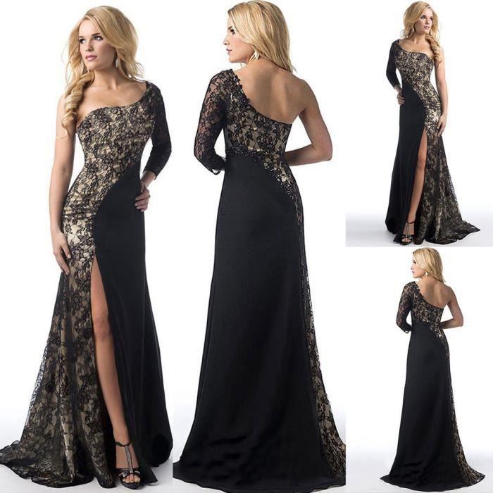 3e6935f1c2b exquisgift®Femme Robe de cocktail cérémonie de mariage de demoiselle  d honneur robe de bal Noir~WSD70615511A