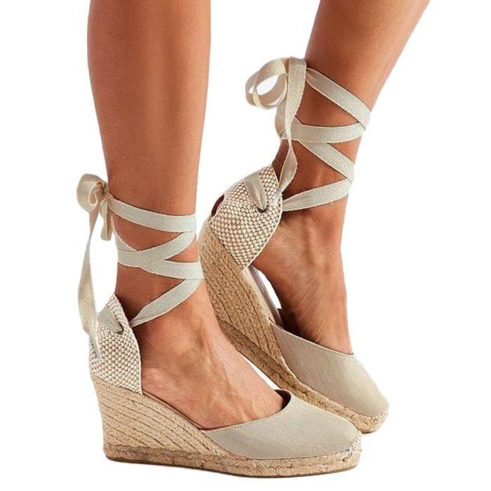 Minetom Lanière Compensé Talon Sandale Sandals Mode Femme Espadrille pUzVGSqM