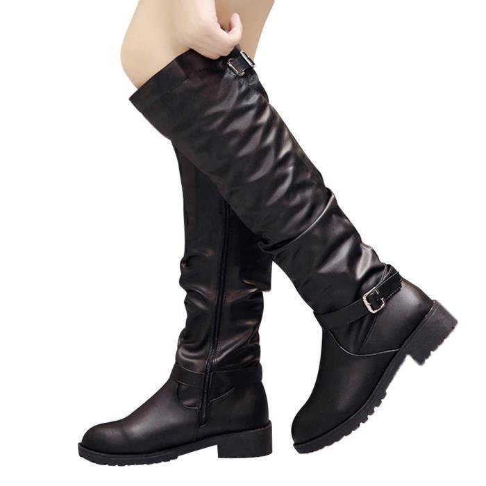 Bottes rond Noir cuir bout Chaussures en Fermeture Martin à Bottes Femmes Cuissardes glissière bfy6Yg7