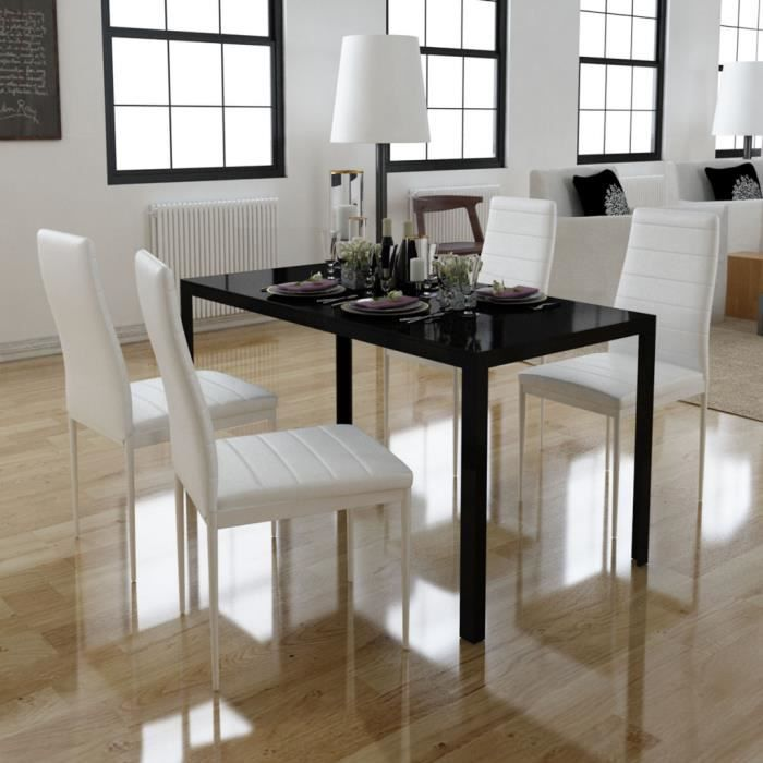 Beau Ensemble 4pcs Chaises Blanc En Cuir Synthétique + 1 Table Noir En Verre  Trempé De Salle à Manger