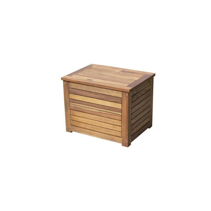 Coffre de rangement pour jardin en bois d\'acacia - 58 x 43 x 45 cm - Marron  - Aspect bois