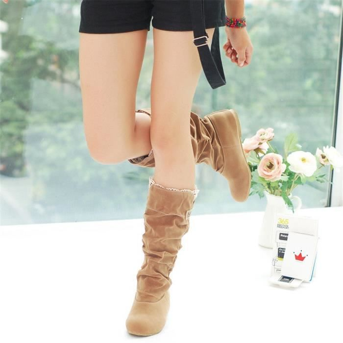 Botte Femme Hiver Sexy Mode Casual bottines DTG-XZ015Noir38 UkToFUUU