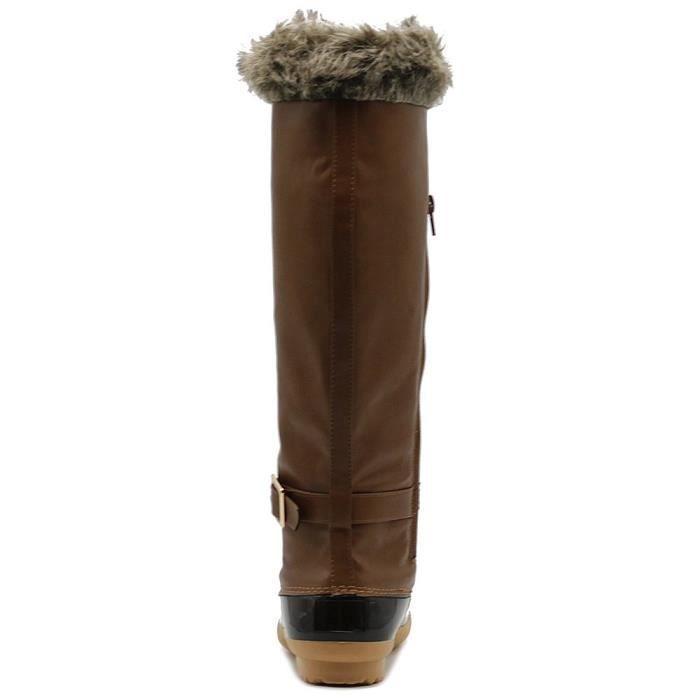 Genou chaussures lacées haut fausse fourrure Bottes de canard Buckled EGG5I Taille-42