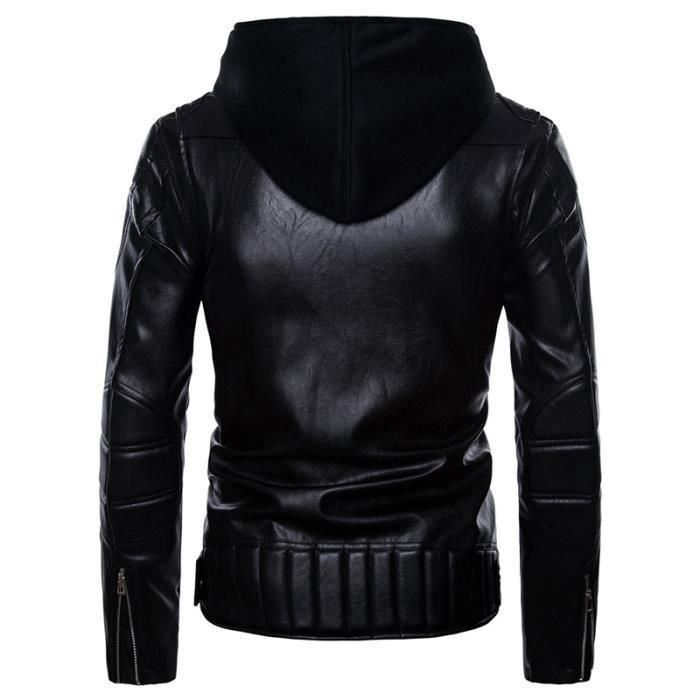 En Motard Zippés Pas Hommes Noir Cher Poignets Luxe Marque Capuche Homme Vêtement À Cuir Masculin Pu Veste v5AwFdqv