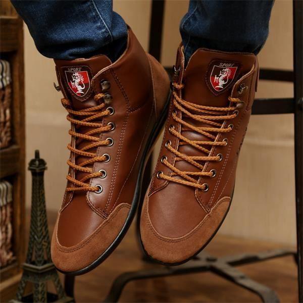 Nouvelle loisirs cheville de Mode Tide Hommes lacées Simple Vintage style Bottes Bottes Hommes Chaussures britanniques arrivée gnX1rw0qg