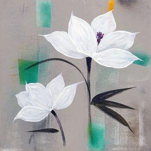 TABLEAU - TOILE FLEURS BLANCHES Toile peinte 50x50 cm Blanc, vert