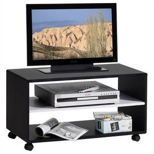 meuble tv meuble tv sur roulettes atlanta mdf noir blanc - Meuble Tv Blanc Sur Roulettes