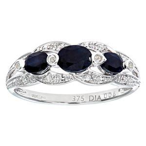 BAGUE - ANNEAU Revoni Bague Saphir et Diamant Or Blanc 375° Femme