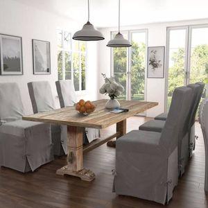 Table de salle à manger massive 200x100x75 cm Bois de teck - Achat ...