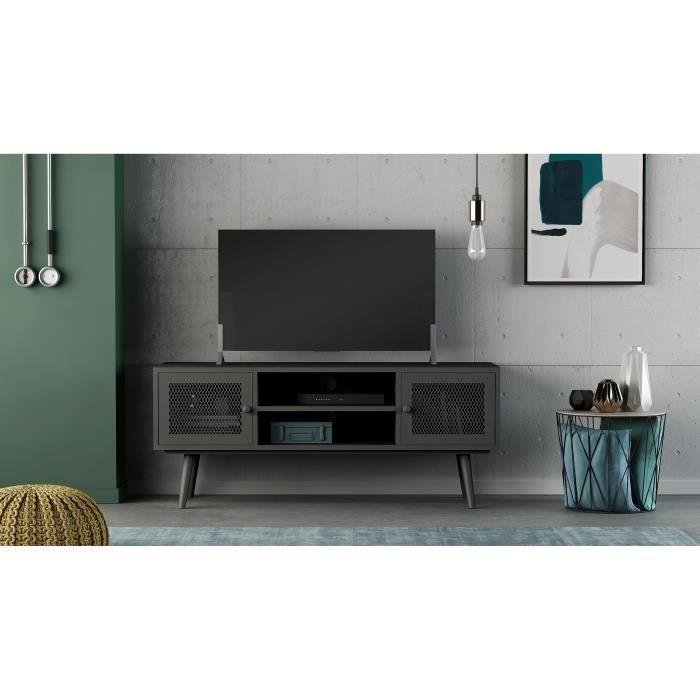 BROADWAY Meuble TV 2 portes - Noir - L 110 x P 35 x H 45 cm