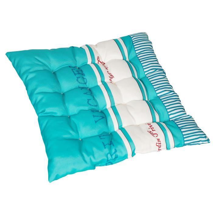 JARDIN PRIVE Assise de chaise ou fauteuil futon carrée Fouta - 16 capitons - 46x46x6 cm - Bleu