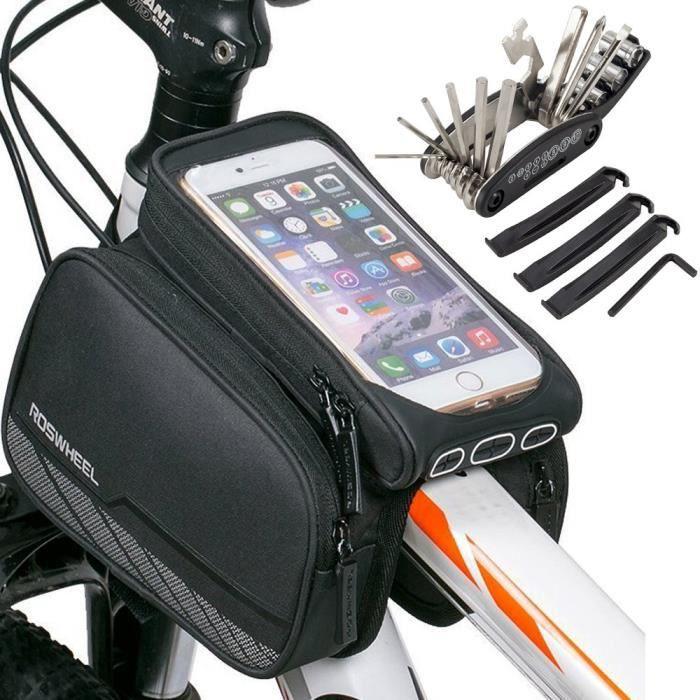 411d108343 vélo cadre sacoche téléphone portable sac, vélo avant tube supérieur écran  tactile selle sac panier montagne roa 3B3750