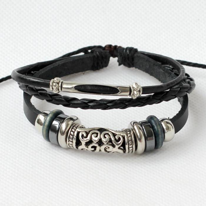 Bracelet en cuir pour femme en cuir Bracelet Filigrane Perles Bracelet Bracelet anneaux Bracelet Tressé L S3UJQ