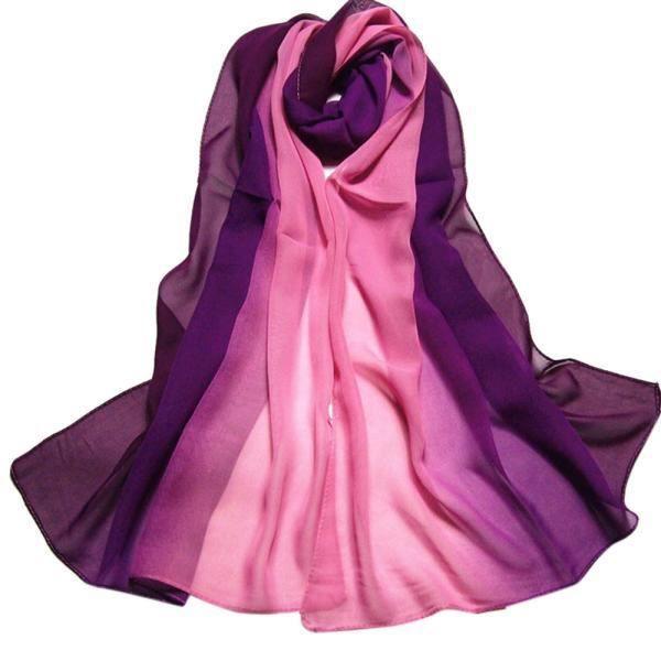 Benjanies®Dame mode Écharpes Couleur de dégradé Écharpe de mousseline de  soie châle femme long Wrap populaire élégant 8567236306e