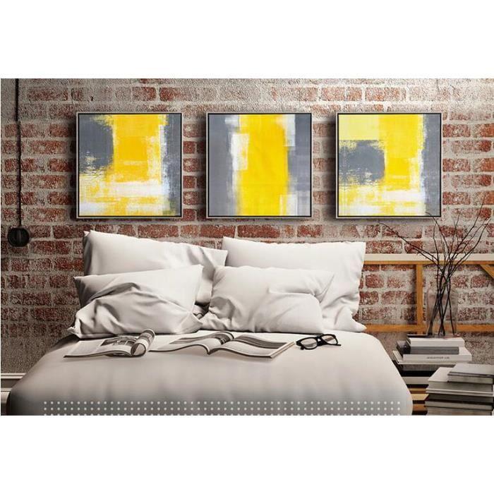Mode Peinture Abstraite Jaune Et Grise Unframed 3 Panneau Peintures