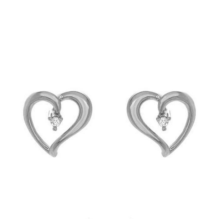 Boucles doreilles en or blanc 14 carats et diamants serties de 2 diamants dun total de 0,06 carat, de forme ronde, de couleur I-J