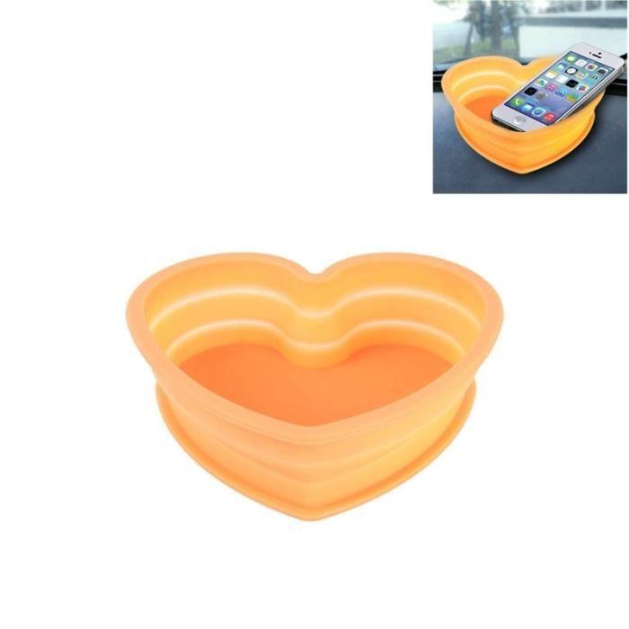 Organiseur De Siege - Poche De Rangement - CAR Stowing Tidying - Boîte orange de rangement extensible en silicone forme coeur pour