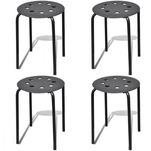 lot de 4 tabourets empilables noir achat vente tabouret noir cdiscount. Black Bedroom Furniture Sets. Home Design Ideas