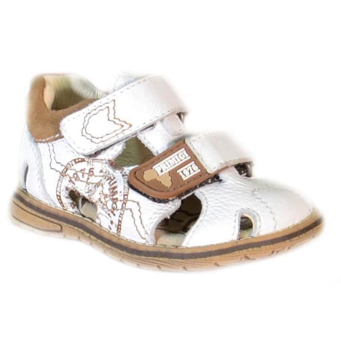 Primigi Sandales pour Garçon Blanc Cuir Velcro 81270 38yvl