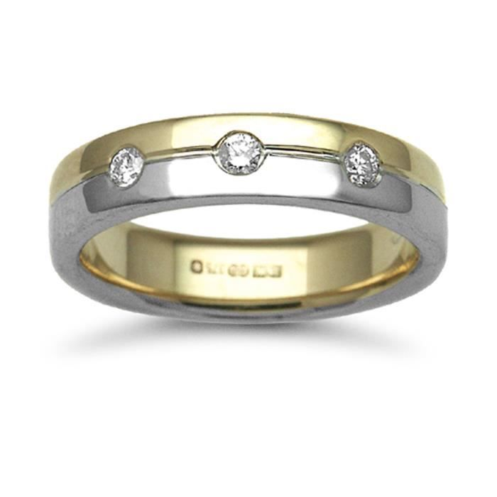 Jewelco London Or 2 couleurs 9k 0.15ct Diamant mariage bague 5mm
