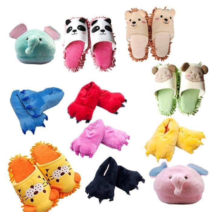 Pantoufles chauds de coton en peluche Chaussons chauds en peluche pour la chaleur de l'hiver de Halloween