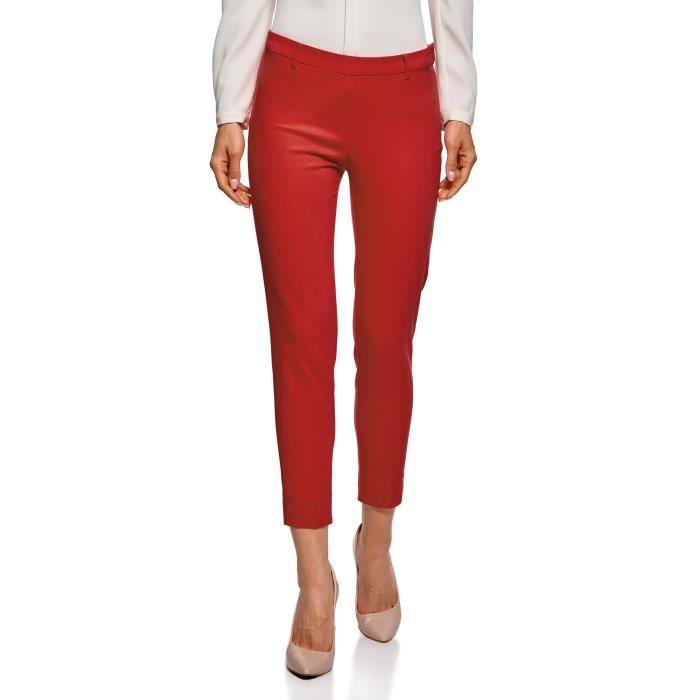 52264049c0ca2 Femme Pantalon Fuselé Avec Fermeture Éclair Sur Le Côté IT930 Rouge ...