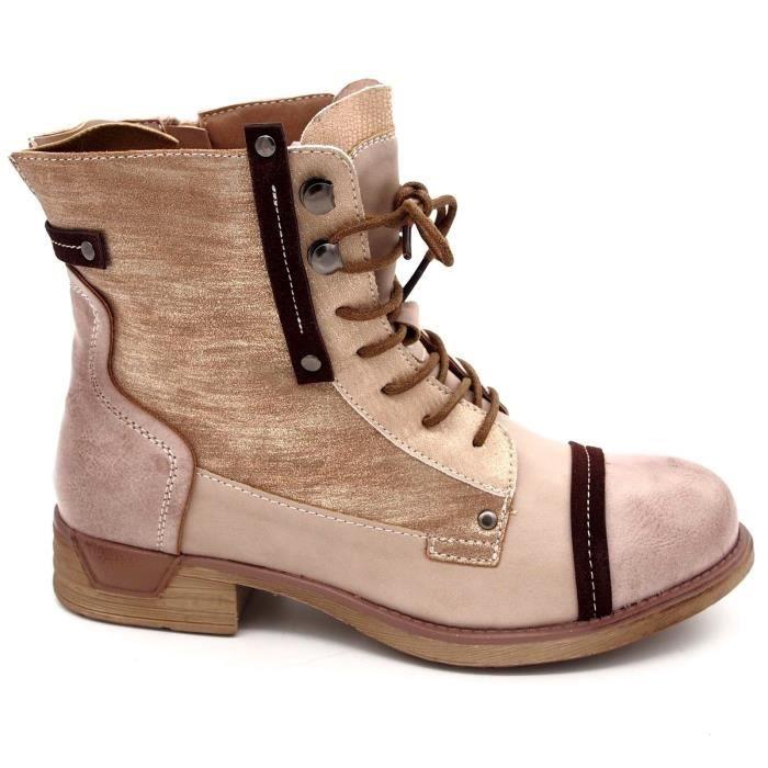 dce5f9fdeb68 ... Talon plat cuir synthétique. BOTTINE Chaussures Bottines boots à lacets  femme Bout rond