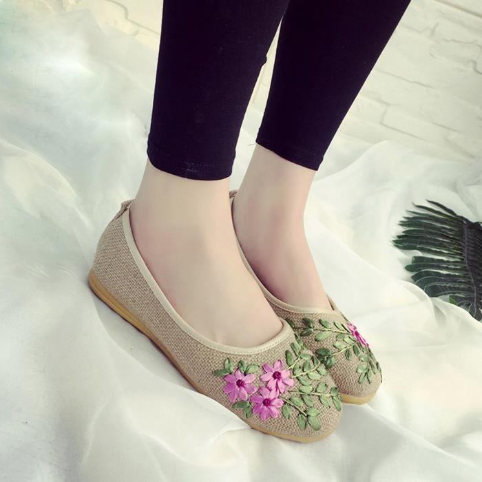 MOCASSIN Femmes Fleur Flats tissu de coton Chaussures Casua