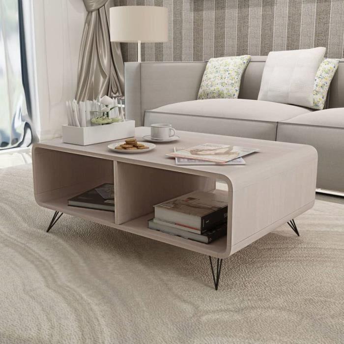 Moderne Table basse Table à thé console salon contemporain scandinave  90x55,5x38,5 cm Bois Gris