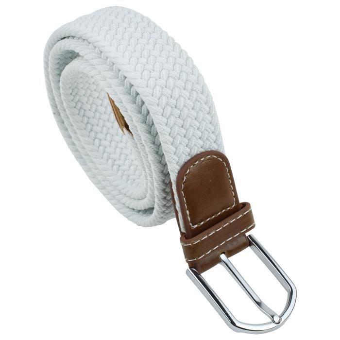 a41e10c65015 Unisexe Tresse elastique extensible caoutchouc cordes ceinture (blanc, tete  brune)