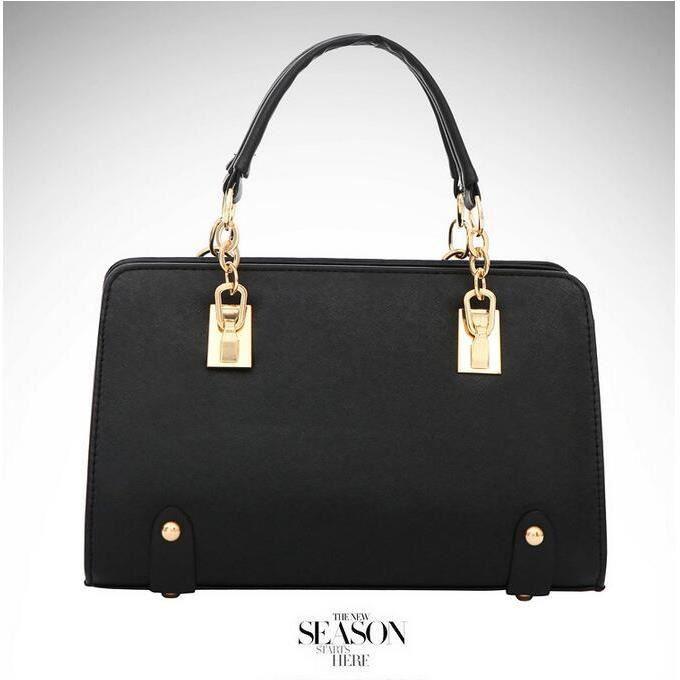 Noir Sac à Main sur chaîne stéréotypes femme en PU dure gaufrage Porté Shopping Fourre-tout Cabas sac à bandoulière