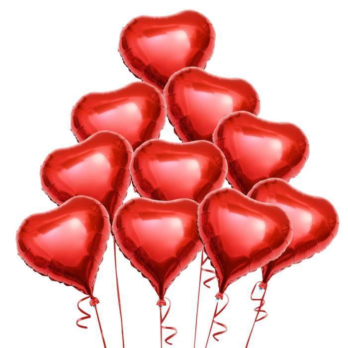 Image Avec Des Coeur pixnor 10pcs ballon de coeur rouge d'hélium avec des cordes pour la