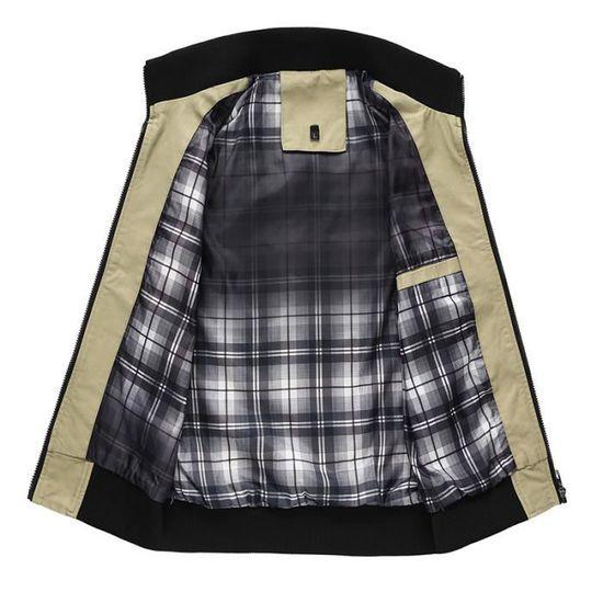 Homme Vertical Printemps Poche Collet Noir Toile Zipper Marque Blouson Pour Slim Fit Lavé Autumne TS8dn4qw