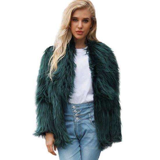 Lapel Paontry9569 Solid Fourrure Large Parka Fausse vêtement Dames Manteau D'hiver Chaud Femmes En WCv8Wg