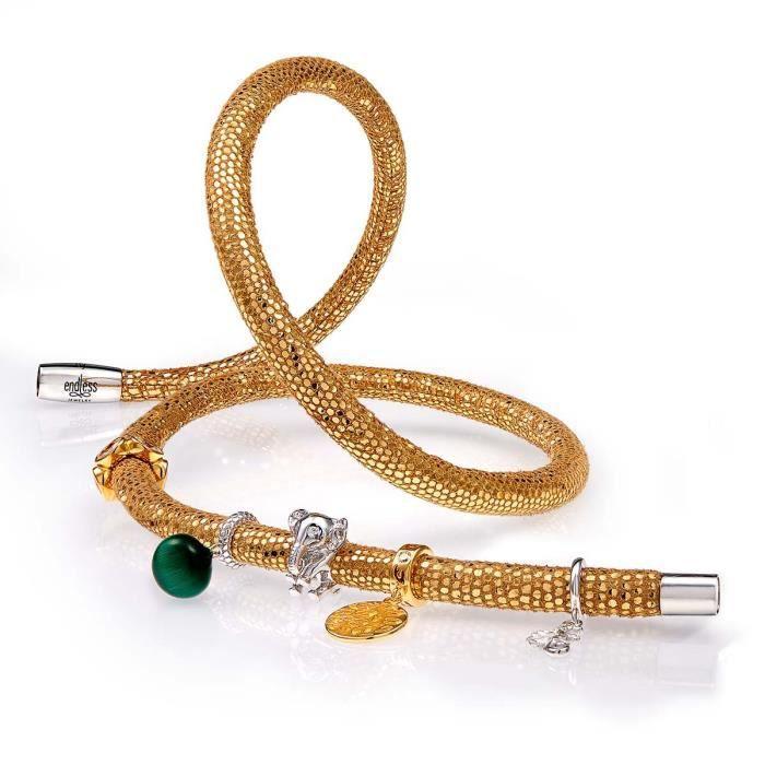 Bracelet ENDLESS Acier Cuir - Taille : 20 cm- 1041-20 - Argenté