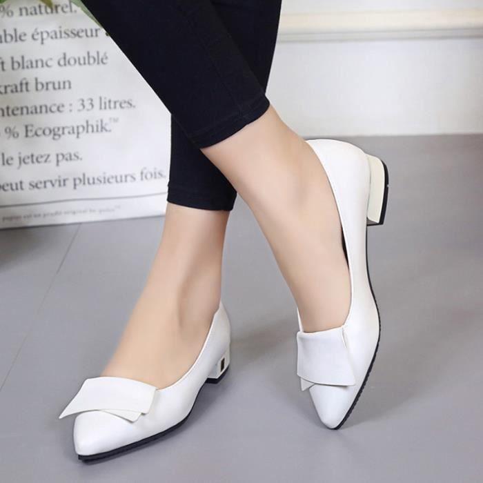 Chaussure Femmes Printemps Été Comfortable Faible Talon Chaussures BGD-XZ069Blanc38