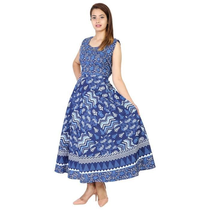 Womens 100% Cotton Indigo Blue Patch Work Printed Long Maxi Dress For1GMQDV Taille-34