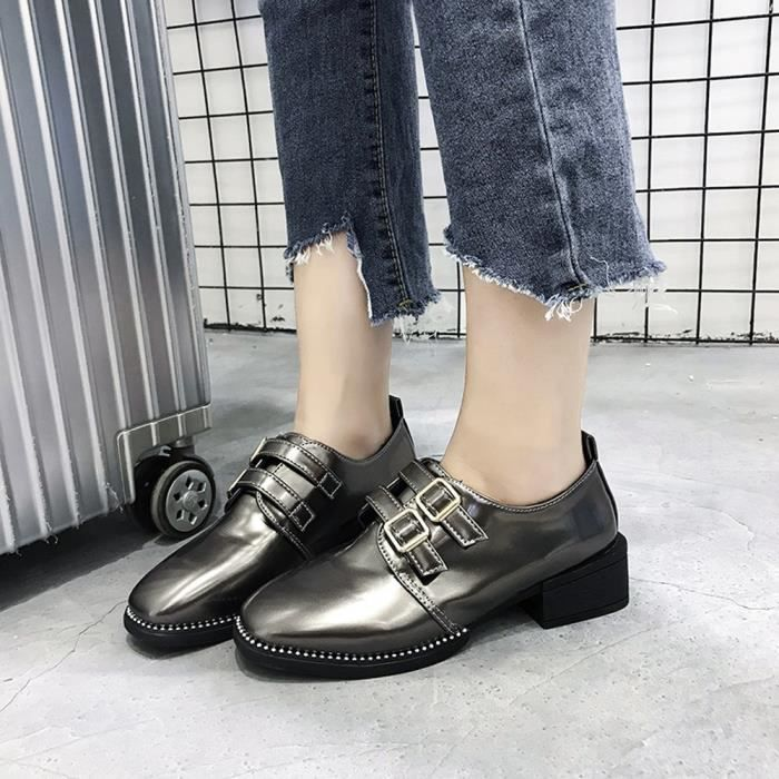Boots Martin on Gris Leather Square Patent Flat Slip Fonc 6838 y Casual Fashion Shoes Toe Femmes nqgwAxHvY