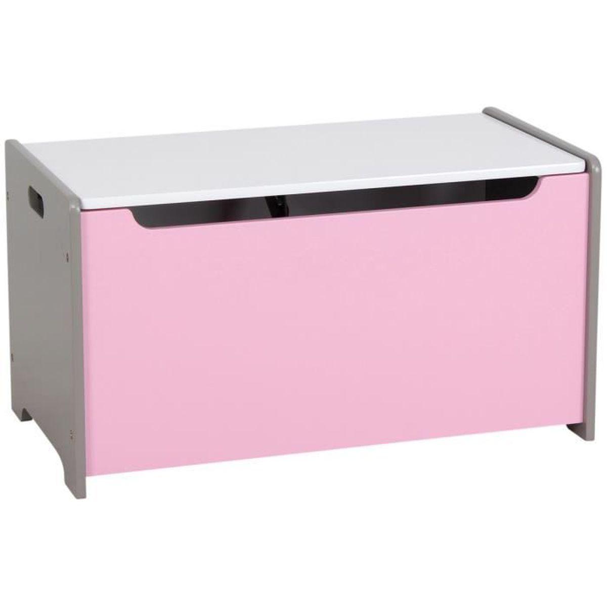 coffre de rangement malle a jouets en bois s curite verin enfant rose achat vente coffre de. Black Bedroom Furniture Sets. Home Design Ideas