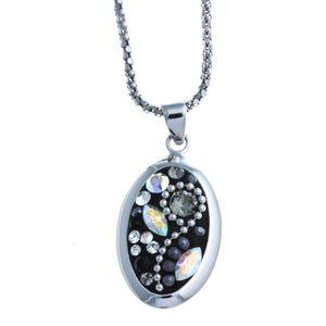 SAUTOIR ET COLLIER Collier argent rhodié 925/1000 cristaux et perles