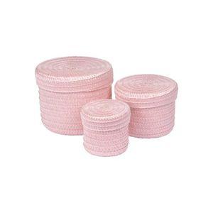 BOITE DE RANGEMENT Lot de 3 boîtes tressées 10x15x18 cm Rose poudré