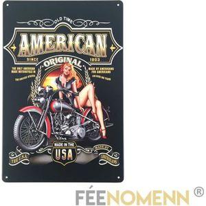 OBJET DÉCORATION MURALE Plaque Métal Déco Vintage - American Harley Pinamp