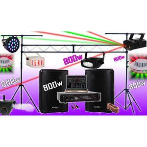 PACK SONO PACK SONO 800W + AMPLI + ENCEINTES + 6 JEUX DE LUM
