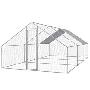 POULAILLER Cage extérieure 3 x 6 x 2 m pour poulets Acier gal