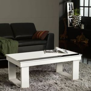 Table basse blanche plateau relevable achat vente pas cher Table basse blanche plateau relevable